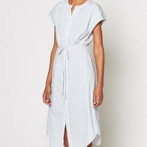 Joie Keziah Shirt Dress Blue White Stripe Midi M